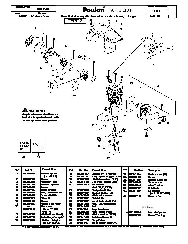 Poulan Model P3314 Chainsaw Manual
