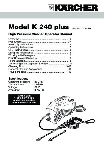 k rcher k 2 40 electric power high pressure washer owners manual rh filemanual com Pressure Washer Pump Parts Pressure Washer Pump Parts