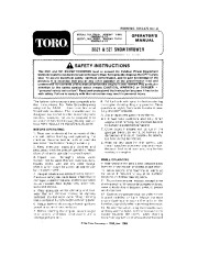 Toro 38052 521 Snowblower Manual, 1990 page 1