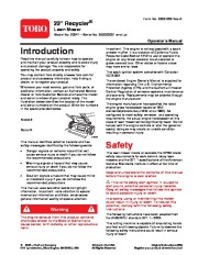 Toro 20041 22-Inch Recycler Lawn Mower Owners Manual, 2005 page 1