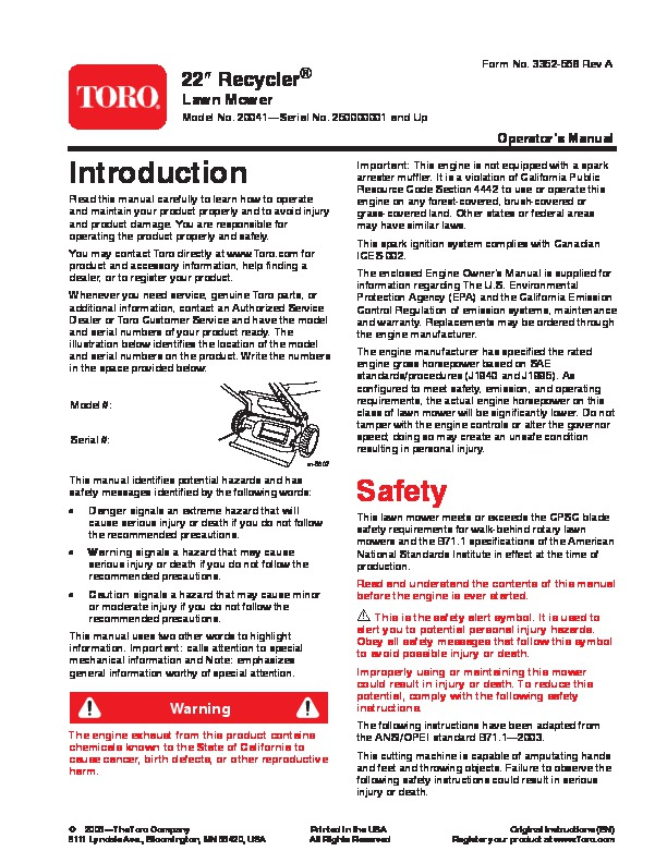 "toro 20041 22 inch recycler lawn mower owners manual 2005 rh lawn garden filemanual com Toro 22"" Recycler Parts Diagram Toro 20041 Engine"