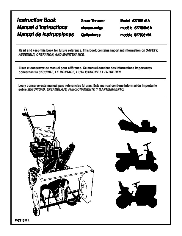 murray 627808x5a snow blower owners manual rh filemanual com Snowblower King Snow Model G2450030 Craftsman Snowblower Parts