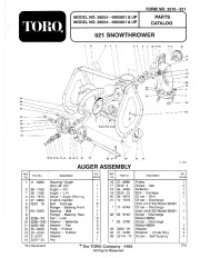 Toro 38054 521 Snowthrower Parts Catalog, 1994 page 1