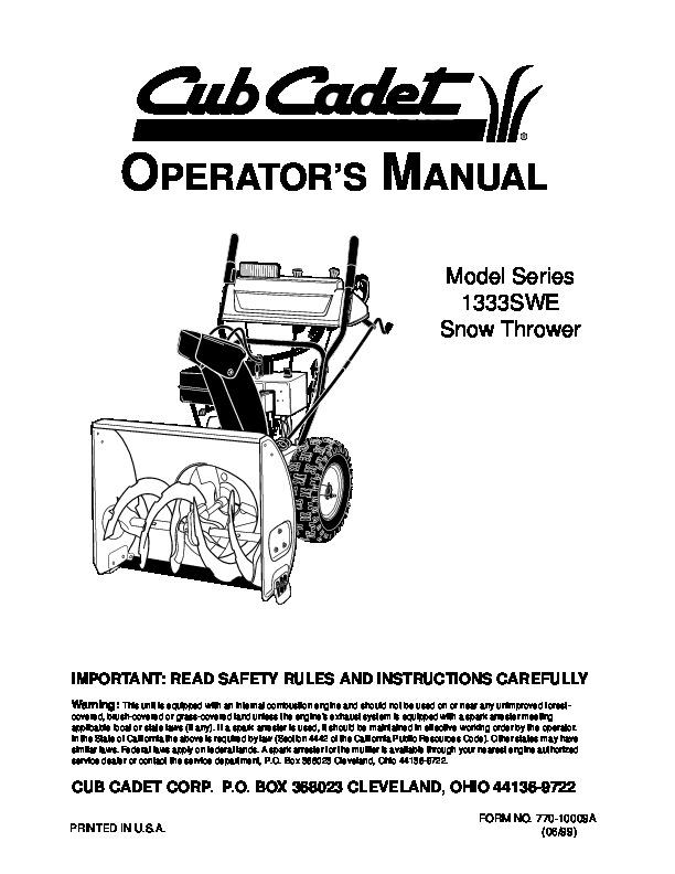 mtd cub cadet 1333s we snow blower owners manual
