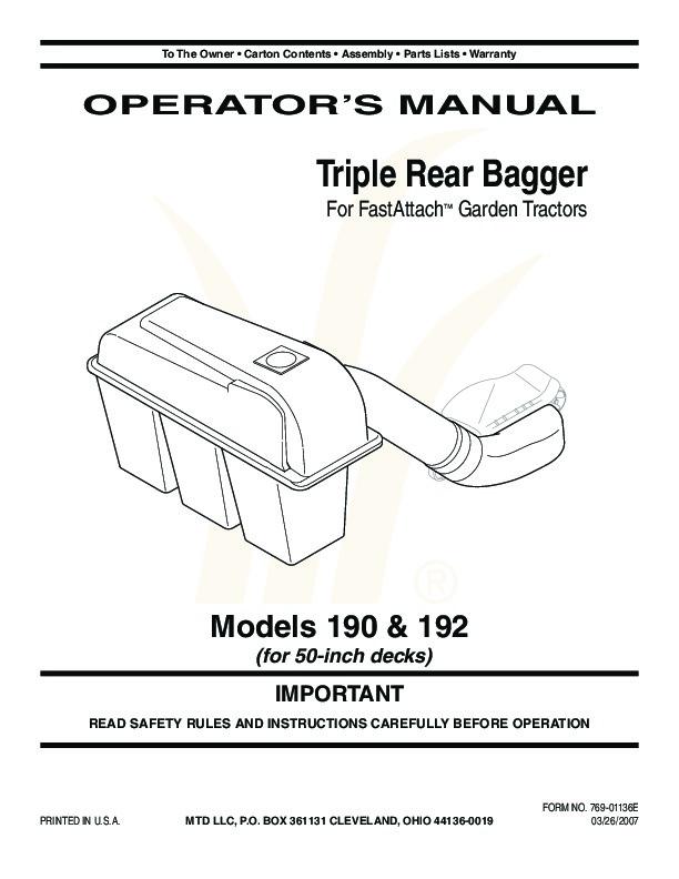 Huskee Mower Manuals : Mtd troy bilt triple rear bagger lawn mower owners