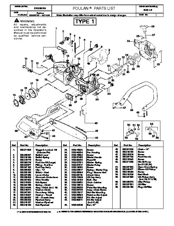 poulan pro 2050 le chainsaw parts list  2006