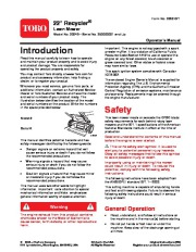 Toro 20049 22-Inch Recycler Lawn Mower Owners Manual, 2005 page 1