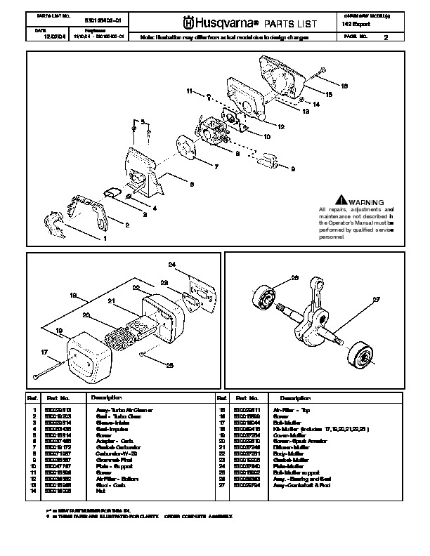 Husqvarna 142 Chainsaw Spare Parts Manual 2001 2002 2003 Manual Guide