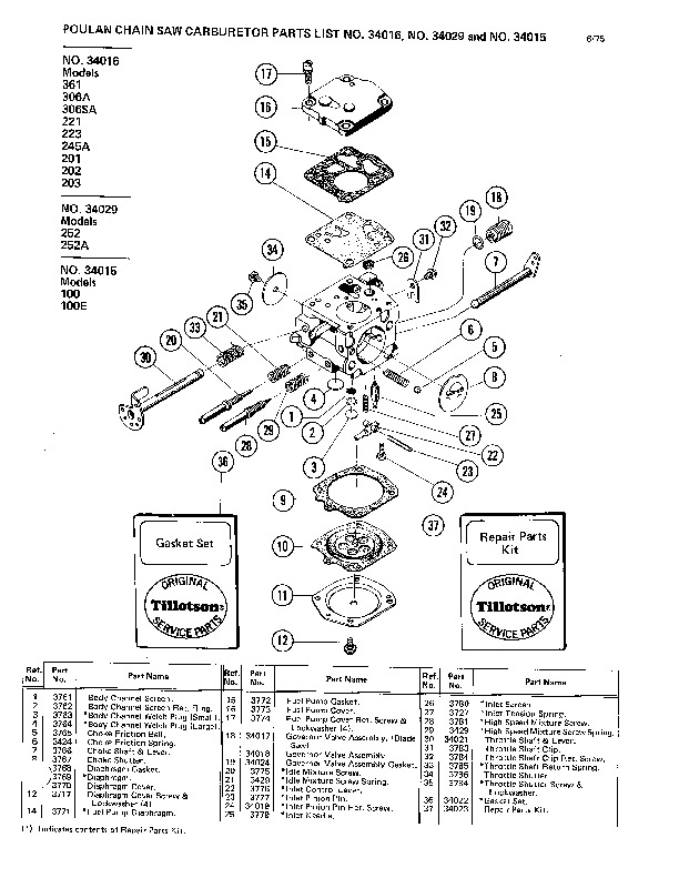 poulan 361 chainsaw parts list