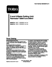 Toro 03527, 03528 Toro 5-Blade Cutting Unit, Reelmaster 5200-D and 5400-D Parts Catalog, 2005 page 1