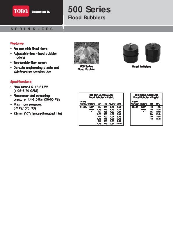 toro 500 series flood bubblers sprinkler irrigation catalog rh filemanual com  Rain Bird Manuals