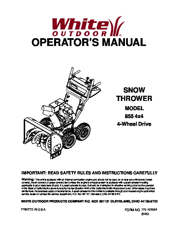 mtd white outdoor 855 4 4 snow blower owners manual