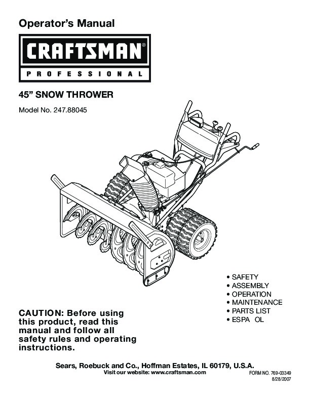 craftsman 247 88045 45 inch snow blower owners manual rh lawn garden filemanual com craftsman snow blower owner manual craftsman snow thrower 208cc owners manual