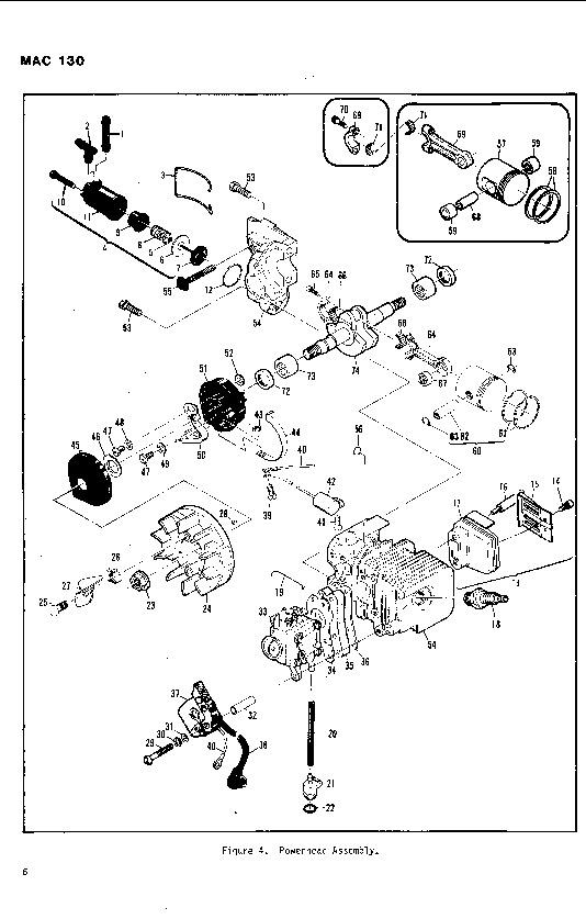 Mcculloch Mac 130 Chainsaw Parts List  1982 1983 1984 1985 1986 1987 1988 1989 1990 1991 1992
