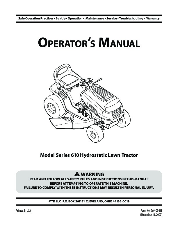 Service Manual For Mtd Garden Tractor