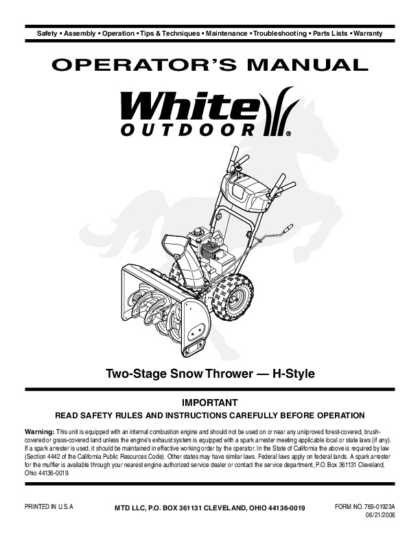white outdoor snow blower manuals rh lawn garden filemanual com White Snow Blower White Snow Thrower Parts
