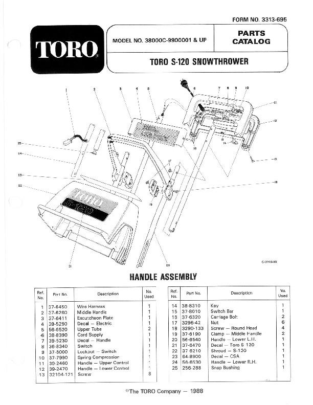 toro 38000c s-120 snowthrower parts catalog, 1989 - 1 of 4