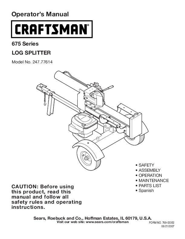 craftsman 247 77614 675 series log splitter owners manual rh lawn garden filemanual com Log Splitter Parts Diagram Huskee Log Splitter Log Catcher