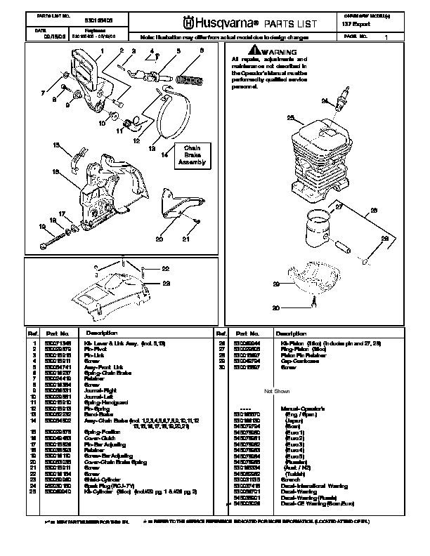 husqvarna 137 chainsaw parts manual  2001 2002 2003 2004 husqvarna parts manual 322t awd Husqvarna Lawn Mower Parts Manual