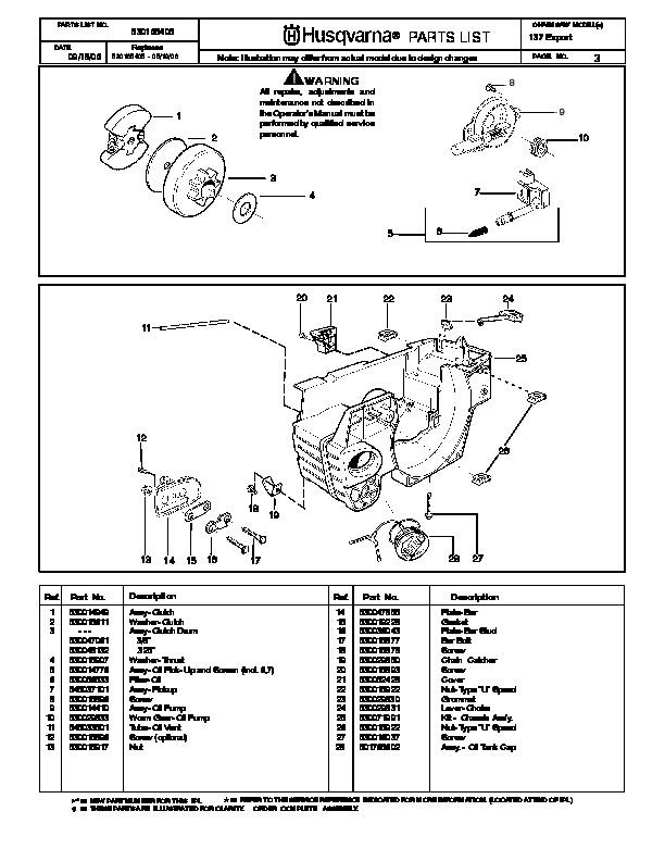 husqvarna 137 chainsaw parts manual  2001 2002 2003 2004 husqvarna parts manual 322t awd husqvarna parts manual online