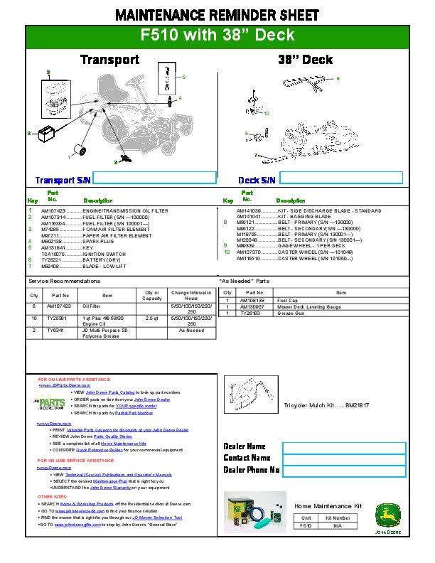 john deere f510 38 inch deck snow blower maintenance sheet manual rh filemanual com