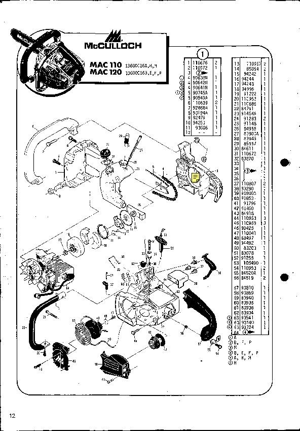 mcculloch mac 110 120 chainsaw service parts list