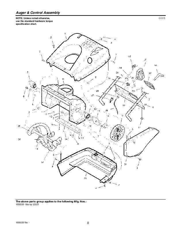 Murray Snow Thrower Parts Manual : Murray walk behind snow blower parts manual