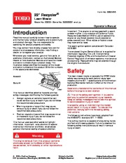 Toro 20003 22-Inch Recycler Lawn Mower Owners Manual, 2005 page 1