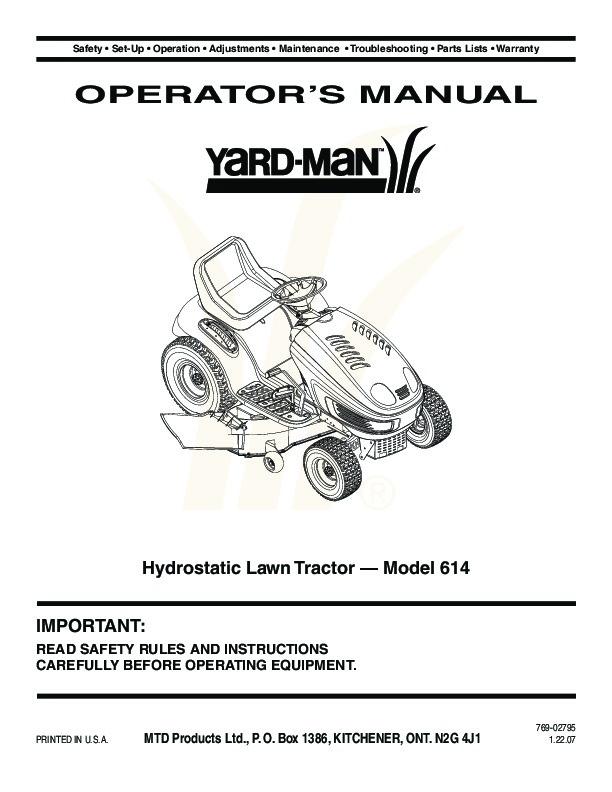 Huskee Mower Manuals : Mtd yard man hydrostatic tractor lawn mower owners manual
