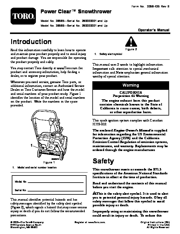 Toro Power Clear 210 Manual : Toro power clear snow blower owners manual