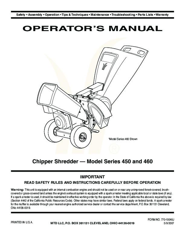 MTD 450 460 Series Vacuum    Chipper    Shredder    Owners       Manual