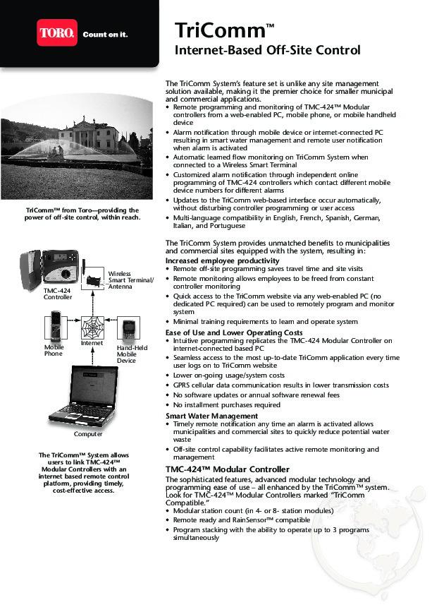 Toro Tricomm Tmternet Based Site Control Sprinkler