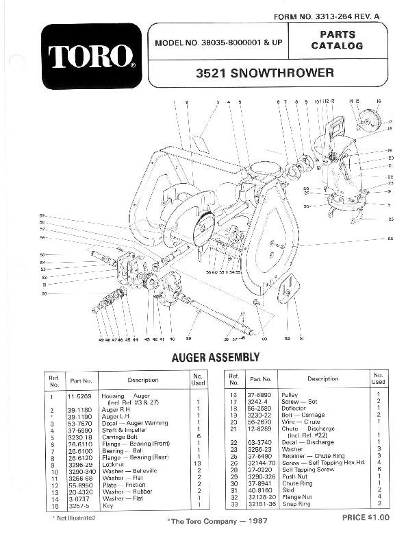 toro 38035 3521 snowblower manual  1988
