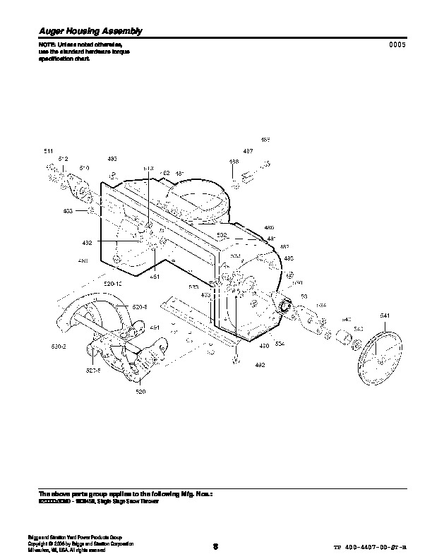 Murray Snow Thrower Parts Manual : Murray n snow blower parts manual