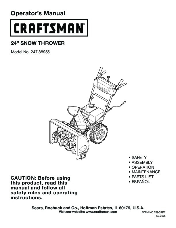 Snow Blower 24 >> Craftsman 247.88955 24-Inch Snow Blower Owners Manual, 2005