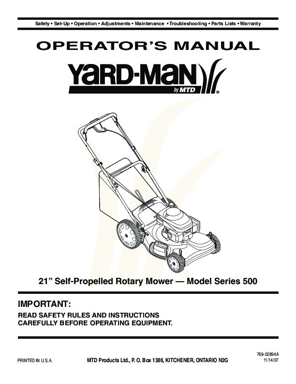 Mtd Yardman Mower Diagram Manual Guide