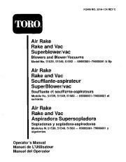 Toro 51539 Air Rake Blower Manual, 1996 page 1