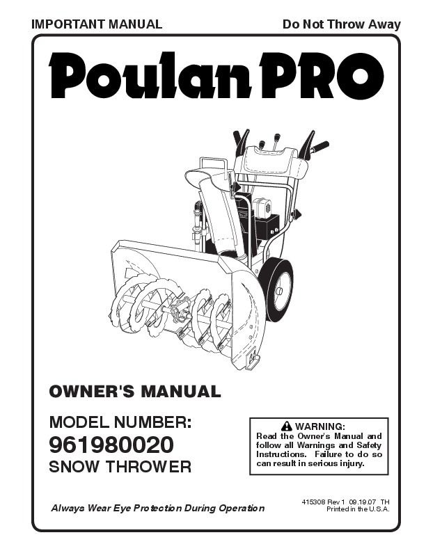 poulan pro 961980020 415308 snow blower owners manual  2007