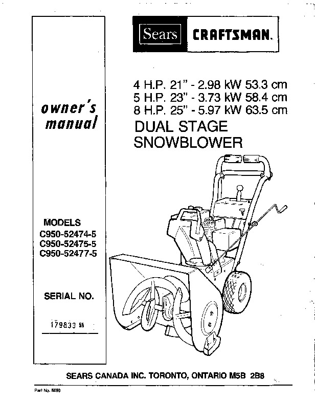craftsman c950 52474 52475 52477 5 snow blower owners manual rh lawn garden filemanual com craftsman snowblower manual craftsman snowblower manual