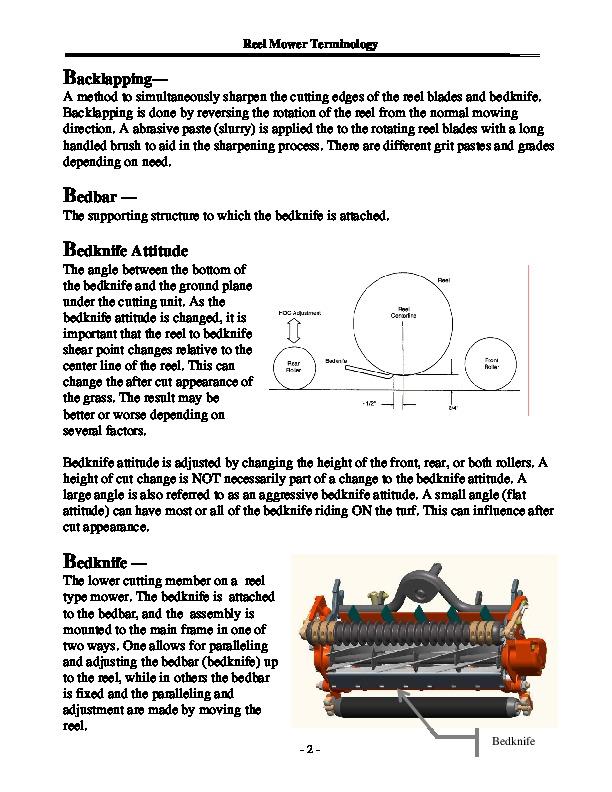 Toro Reel Mower Terminology Reel Mower TERMINOLOGY 09171SL