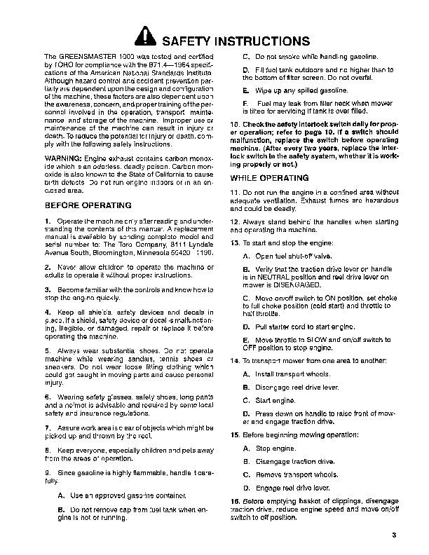 toro greensmaster 1000 service manual