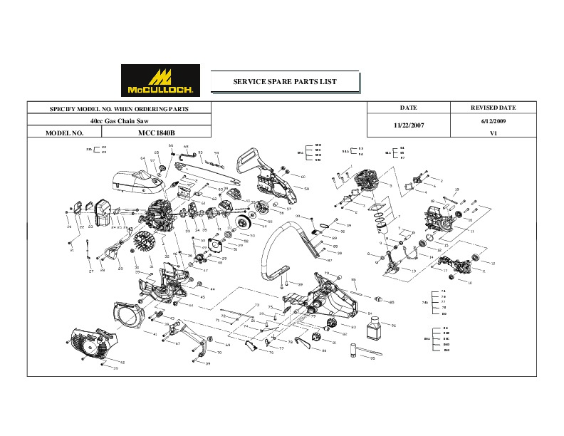 mcculloch chainsaw manuals page 2 rh filemanual com McCulloch Silver Eagle 32 BCS McCulloch 4600 Chainsaw Parts