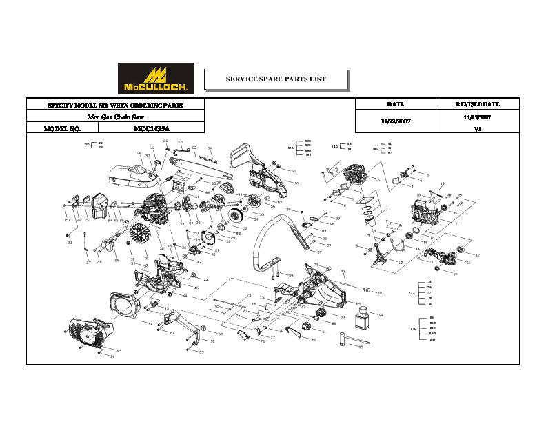 Mcculloch Ipl Mcc1435a 35cc Chainsaw Service Parts List  2006 2007 2008