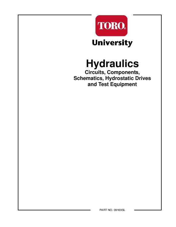 toro hydraulics circuits components schematics hydrostatic drives test equipment 09169sl