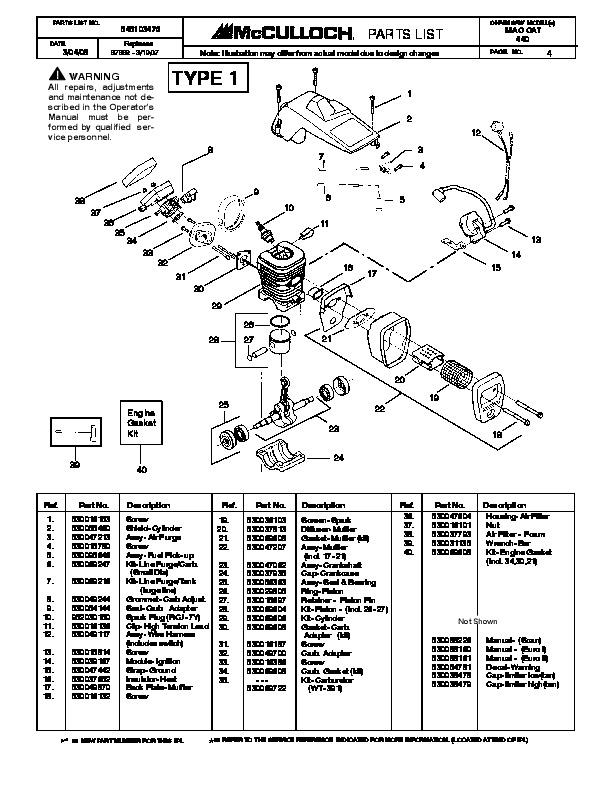 mcculloch mac cat 440 chainsaw service parts list rh filemanual com McCulloch Chainsaw 10 10 McCulloch Pro Mac 610 Chainsaw