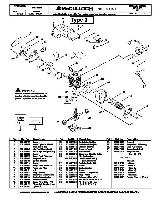 mcculloch mac cat 440 chainsaw service parts list rh filemanual com McCulloch Chainsaw 10 10 McCulloch Chainsaw Bar and Chain