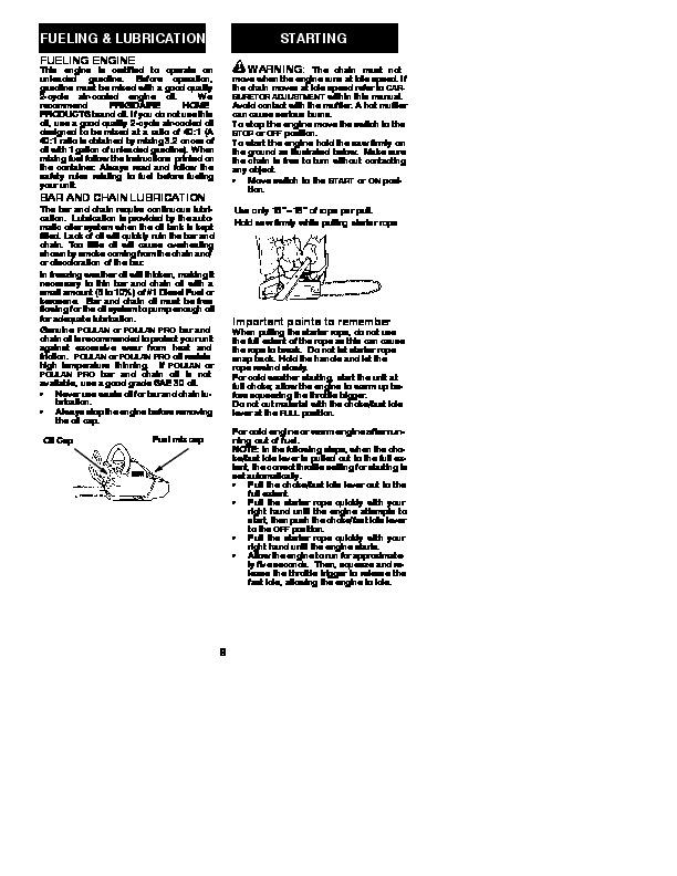 poulan pro chainsaw manual pp4218a