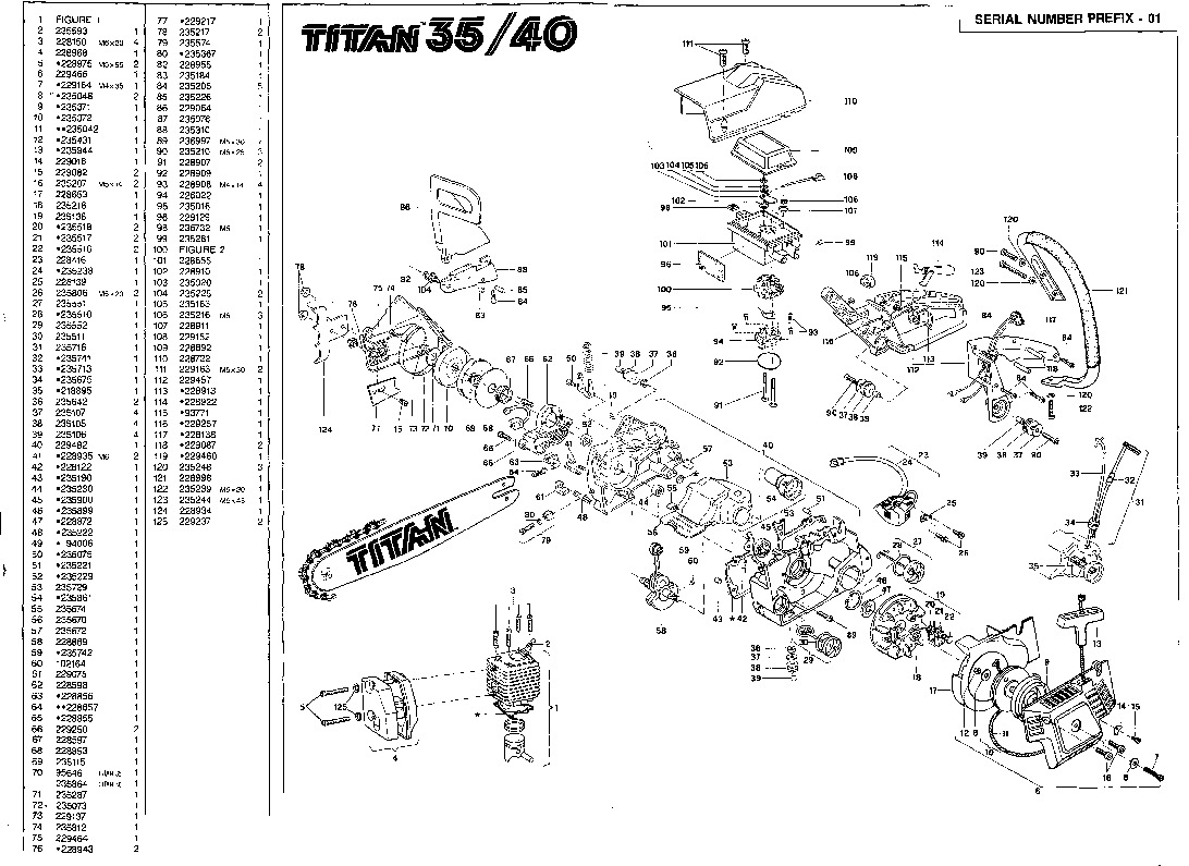 mcculloch titan 35 40 chainsaw service parts list