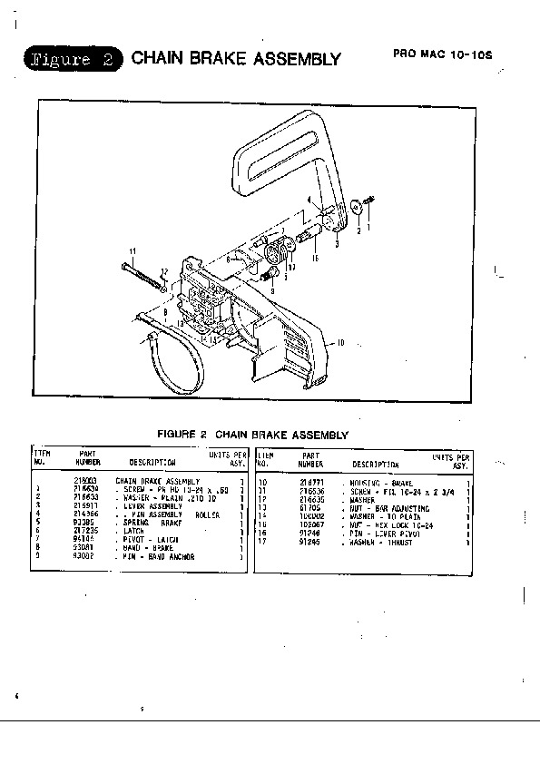 mcculloch promac 10 10s chainsaw service parts list