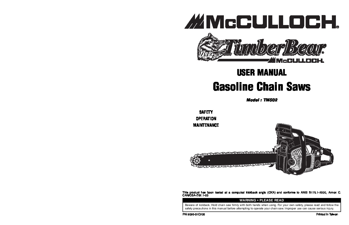 mcculloch chainsaw manual